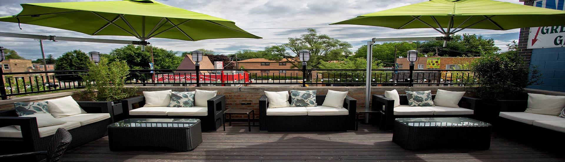 the garage bar rooftop deck